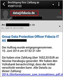 Ansicht der Phishing-Mail - Bestätigung Ihrer Zahlung